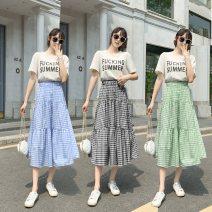 skirt Summer 2021 Medium length skirt High waist Cake skirt commute 71% (inclusive) - 80% (inclusive) Three dimensional decoration lattice cotton 18-24 years old Type A 429//qm Korean version One size fits all Green, blue, black