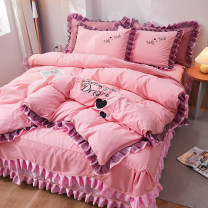 Bedding Set / four piece set / multi piece set cotton other Solid color 133X76 Other / other cotton 4 pieces 40 Sheet type, bed skirt type, bedspread type Qualified products Princess style 95% (inclusive) - 100% (exclusive) cotton twill Reactive Print  Thermal storage
