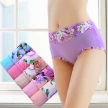 underpants female M 80-115 kg L 115-150 kg XL 150-190 kg Yishangjin 5 Polyester (polyester) Briefs middle-waisted sexy Plants and flowers youth