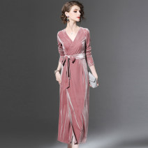 Dress Autumn 2020 Pink (belt) in stock, collect baby, pay attention to the store (priority delivery), like to put in the shopping cart in advance (priority delivery) longuette singleton  Long sleeves street V-neck Solid color routine Others Type H Other / other Strap, zipper other polyester fiber