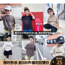 T-shirt Other / other 90cm,100cm,110cm,120cm,130cm,140cm,150cm,160cm male summer Short sleeve Crew neck leisure time There are models in the real shooting nothing Pure cotton (100% cotton content) other Cotton 100% Class A Chinese Mainland
