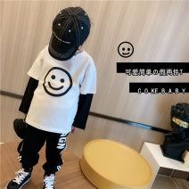 T-shirt Two fake smiley face pieces in stock, two fake smiley face pieces in advance Other / other 90cm,100cm,110cm,120cm,130cm,140cm,150cm currency spring and autumn Long sleeves Crew neck leisure time There are models in the real shooting nothing cotton Cartoon animation Sweat absorption