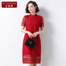 Middle aged and old women's wear Summer 2021 Red 1 2 3 4 XL [within 85 kg recommended] 2XL [within 85-100 kg recommended] 3XL [within 100-115 kg recommended] 4XL [within 115-130 kg recommended] fashion Dress easy singleton  Decor 40-49 years old Socket thin stand collar routine routine 11222Q Susanna