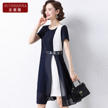 Middle aged and old women's wear Summer 2021 Navy 1 2 3 4 XL 2XL 3XL 4XL 5XL fashion Dress easy singleton  Solid color 40-49 years old Socket thin Crew neck Medium length routine 11231Q Susanna belt polyester Polyester 100% 96% and above Pure e-commerce (online only) Medium length Chiffon other