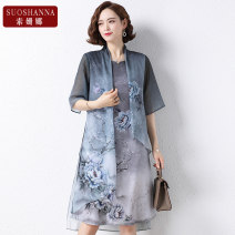 Middle aged and old women's wear Summer 2021 Grey 1 2 XL [recommended 115 kg] 2XL [recommended 115-130 kg] 3XL [recommended 130-145 kg] 4XL [recommended 145-155 kg] fashion Dress easy singleton  Flower and bird pattern 40-49 years old Socket thin V-neck Medium length routine 11214Q Susanna polyester