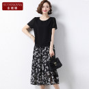Middle aged and old women's wear Summer 2021 Black 1 2 XL [recommended 105 kg] 2XL [recommended 105 kg] - 120 kg] 3XL - 135 kg] 4XL [suggestion 135 kg] - 150 kg] 5XL [suggestion 150 kg] - 160 kg] fashion suit easy Two piece set Broken flowers 40-49 years old Socket thin Crew neck Medium length other