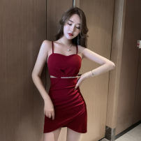 Dress Summer 2021 Red, black S,M,L Short skirt singleton  Sleeveless commute V-neck middle-waisted Solid color Socket One pace skirt routine camisole Type A Korean version