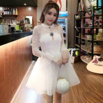 Dress Winter 2020 White, black S,M,L Middle-skirt singleton  Long sleeves Sweet High collar middle-waisted Solid color Socket Princess Dress pagoda sleeve Others Other / other Lace princess