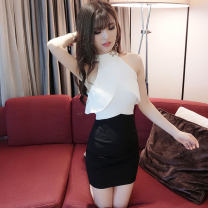 Dress Summer 2020 White and black S,M,L Short skirt singleton  Sleeveless commute other middle-waisted One pace skirt other Hanging neck style Other / other Korean version Ruffles, hollowed out, open back, stitching, zipper cotton