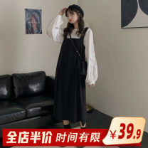 Women's large Autumn 2020 Shirtsleep skirt suit Dress Two piece set commute easy thick Conjoined Long sleeves Broken flowers Korean version One word collar routine Three dimensional cutting bishop sleeve J7-15LM2839-A Homecore 18-24 years old Gouhua hollow longuette Pure e-commerce (online only)