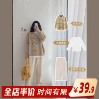Women's large Autumn 2020 Single sweater single pants single T-shirt sweater + T-shirt + pants [three piece set] sweater + pants [two piece set] S M L XL 2XL 3XL 4XL sweater Two piece set commute easy thick Conjoined Long sleeves Broken flowers Korean version One word collar routine routine Homecore