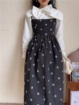 Dress Autumn 2020 black S,M,L Miniskirt singleton  Sleeveless Sweet square neck High waist Broken flowers Socket A-line skirt routine camisole 18-24 years old Type A Other / other Embroidery polyester fiber