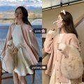 Fashion suit Autumn 2020 Average size Blue coat, pink coat, cream dress, black dress, blue dress 18-25 years old 51% (inclusive) - 70% (inclusive) cotton