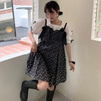 Dress Summer 2021 Shirt, black suspender skirt S. M, average size Middle-skirt Two piece set Short sleeve Sweet Crew neck High waist Socket other other Breast wrapping 18-24 years old Type A 51% (inclusive) - 70% (inclusive) cotton princess