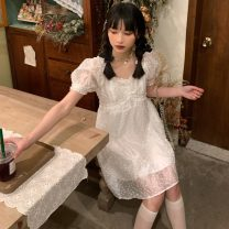 Dress Summer 2021 Dress Average size Middle-skirt singleton  Short sleeve commute square neck High waist Solid color Socket other Others 18-24 years old Type A Korean version 51% (inclusive) - 70% (inclusive) cotton