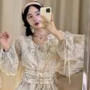 Dress Summer 2021 Broken flowers S,M,L Middle-skirt Long sleeves Crew neck High waist Decor routine Others 18-24 years old Type H 51% (inclusive) - 70% (inclusive) Chiffon