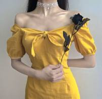 Dress Spring 2021 yellow Average size longuette singleton  Short sleeve commute square neck High waist Solid color Socket A-line skirt puff sleeve 18-24 years old Type A bow K516 51% (inclusive) - 70% (inclusive) polyester fiber