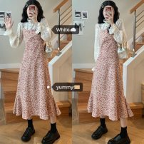 Dress Autumn 2020 Dress with lace backing Average size longuette singleton  Sleeveless commute V-neck High waist Broken flowers Socket A-line skirt camisole 18-24 years old Type A printing D259 polyester fiber