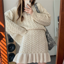 Wool knitwear Winter 2020 Average size Apricot suit Long sleeves Two piece set Socket other 71% (inclusive) - 80% (inclusive) Regular routine street easy Low crew neck routine Solid color Socket M6127 18-24 years old