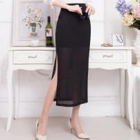 skirt Summer 2020 M,L,XL,2XL,3XL,4XL Black 80cm skirt length [one side split 535-1], black 80cm skirt length [two sides split 535-2], black 90cm skirt length [one side split 536-1], black 90cm skirt length [two sides split 536-2] Mid length dress commute High waist skirt Solid color Type A Chiffon