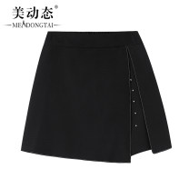 Women's large Summer 2021 black L XL 2XL 3XL 4XL 5XL trousers singleton  commute easy moderate Solid color Korean version Three dimensional cutting Beauty trends 25-29 years old zipper 96% and above Short skirt Polyester 100% shorts