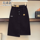 Women's large Summer 2021 Black Khaki L XL 2XL 3XL 4XL skirt singleton  commute easy moderate Solid color Korean version cotton Three dimensional cutting Beauty trends 25-29 years old Button 96% and above Medium length Cotton 97% polyurethane elastic fiber (spandex) 3% Pure e-commerce (online only)