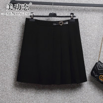 Women's large Summer 2021 black L XL 2XL 3XL 4XL 5XL skirt singleton  commute easy moderate Solid color Korean version Three dimensional cutting Beauty trends 25-29 years old zipper 91% (inclusive) - 95% (inclusive) Short skirt Cotton 95% polyurethane elastic fiber (spandex) 5%
