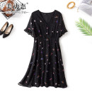 Women's large Summer 2021 black L XL 2XL 3XL 4XL Dress singleton  commute easy moderate Socket Short sleeve Broken flowers Korean version V-neck Three dimensional cutting pagoda sleeve Beauty trends 25-29 years old Three dimensional decoration 96% and above Medium length Polyester 100%
