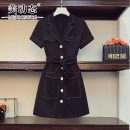 Women's large Summer 2021 black L XL 2XL 3XL 4XL Dress singleton  commute easy moderate Socket Short sleeve Solid color Korean version Three dimensional cutting routine Beauty trends 25-29 years old Button 96% and above Medium length Polyester 100% Pure e-commerce (online only)