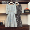 Women's large Summer 2021 Black blue L XL 2XL 3XL 4XL Dress singleton  commute easy moderate Socket Long sleeves Broken flowers Korean version square neck Three dimensional cutting routine Beauty trends 25-29 years old 96% and above Medium length Polyester 100% Pure e-commerce (online only)