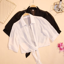 Lace / Chiffon Summer 2020 White, black Average size elbow sleeve commute Cardigan singleton  easy have cash less than that is registered in the accounts Polo collar Solid color routine 18-24 years old CSNRG638# Korean version 51% (inclusive) - 70% (inclusive)
