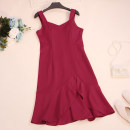 Dress Summer 2020 Black, red, khaki Average size Mid length dress singleton  Sleeveless commute V-neck High waist Solid color zipper Ruffle Skirt other camisole 18-24 years old Type A CSNRG5699 51% (inclusive) - 70% (inclusive) other