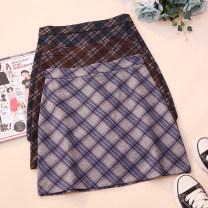 skirt Autumn 2020 S,M,L,XL Grey, blue, brown Short skirt commute High waist A-line skirt lattice Type A 18-24 years old CSNRG8959 51% (inclusive) - 70% (inclusive) other zipper Korean version