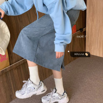 skirt Spring 2021 S,M,L Brown, apricot, blue Mid length dress commute High waist A-line skirt Solid color Type A 18-24 years old 10820# corduroy Korean version