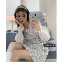 Dress Summer 2021 Picture color S,M,L Short skirt singleton  Long sleeves commute square neck Loose waist Socket other other Others 18-24 years old Type A Korean version