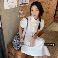 Dress Summer 2021 Light blue, light yellow, white, black Average size Mid length dress singleton  Short sleeve commute Crew neck High waist Solid color Socket A-line skirt other Others 18-24 years old Type A Korean version other cotton
