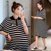 Dress Other / other Korean version Short sleeve Medium length summer Lapel stripe WS009972 Chinese Mainland Collect and join the free freight insurance for car purchase black M,L,XL,XXL