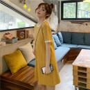 Dress other Yellow, dark blue M,L,XL,XXL,XXXL Korean version Short sleeve Medium length summer Crew neck lattice