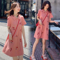 Dress other Picture color M,L,XL,XXL leisure time Short sleeve Medium length summer Lapel Pure cotton (95% and above)