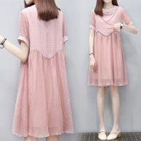 Dress Other / other White, black, pink M,XXL,XXXL,L,XL Korean version Short sleeve Medium length summer Crew neck Solid color Chiffon WS004431