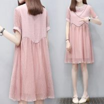 Dress Other / other White, black, pink M,XXL,XXXL,L,XL Korean version Short sleeve Medium length summer Crew neck Solid color Chiffon WS004431