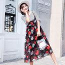 suit other Picture color M,L,XL,XXL Korean version Short sleeve + skirt summer Thin money Broken flowers 088# Chiffon