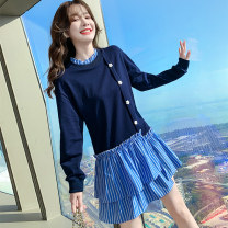 Dress Spring 2021 blue S M L XL Mid length dress Fake two pieces Long sleeves commute Lotus leaf collar High waist stripe Socket Ruffle Skirt routine Others 25-29 years old Type A Kaylev Korean version Splicing KS21099 More than 95% other other Other 100% Pure e-commerce (online only)