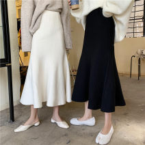 skirt Autumn 2020 Average size Black, cream apricot Mid length dress grace High waist Ruffle Skirt Solid color Type A 18-24 years old 71% (inclusive) - 80% (inclusive) knitting Other / other polyester fiber Lotus leaf edge 401g / m ^ 2 (inclusive) - 500g / m ^ 2 (inclusive)