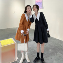 Dress Spring 2021 Black, orange M, L Middle-skirt singleton  Long sleeves commute V-neck High waist Solid color Socket A-line skirt puff sleeve Others 18-24 years old Type A Other / other Korean version Three dimensional decoration 117K 31% (inclusive) - 50% (inclusive) other polyester fiber