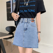 skirt Summer 2021 S,M,L,XL Light blue, black Short skirt commute High waist A-line skirt Solid color Type A 18-24 years old 414K 71% (inclusive) - 80% (inclusive) Denim Other / other cotton Sticking cloth Korean version