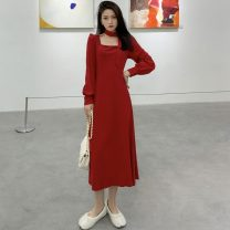 Dress Spring 2021 Red, blue Average size Miniskirt singleton  Long sleeves commute square neck High waist Solid color Socket A-line skirt puff sleeve Others 18-24 years old Type A Other / other Korean version bow 117K 31% (inclusive) - 50% (inclusive) other cotton