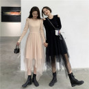 Dress Spring 2021 Black, champagne gold Average size Mid length dress singleton  Long sleeves commute Crew neck High waist Solid color Socket Cake skirt routine Others 18-24 years old Type A Other / other Korean version Hand abrasion 115K 31% (inclusive) - 50% (inclusive) other cotton
