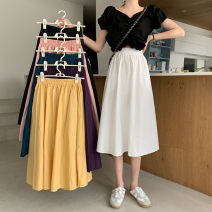 skirt Summer 2020 Average size White, pink, purple, blue, yellow, black Mid length dress Versatile High waist A-line skirt Solid color Type A 18-24 years old 8671* 81% (inclusive) - 90% (inclusive) other cotton pocket
