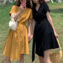 Dress Summer 2020 Yellow, black Average size Mid length dress singleton  Short sleeve commute V-neck High waist Solid color Socket Irregular skirt raglan sleeve Others 18-24 years old Type A Korean version Lace up 31% (inclusive) - 50% (inclusive) other cotton